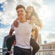 Young couple having fun and walking in the city urban outdoor - PhotoDune Item for Sale