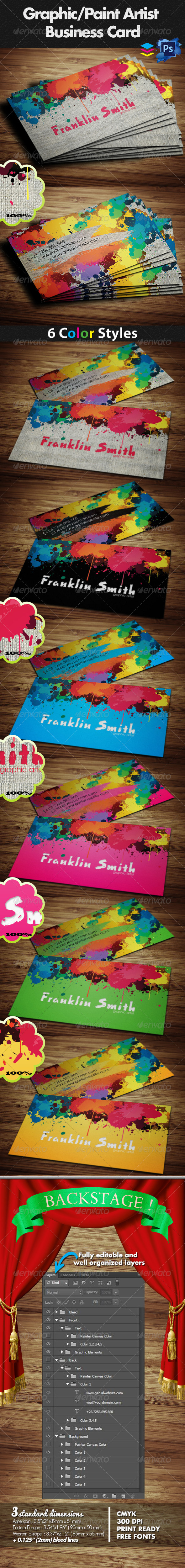 Graphic / Paint Artist Business Card - Creative Business Cards
