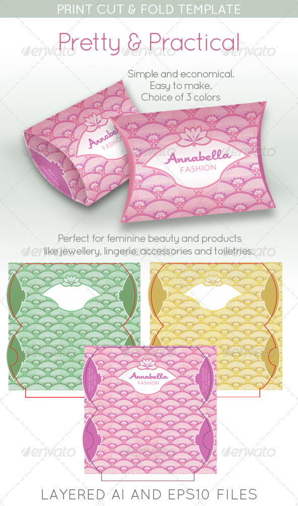 Pretty Packet; Feminine Gift Package Pouch - Packaging Print Templates