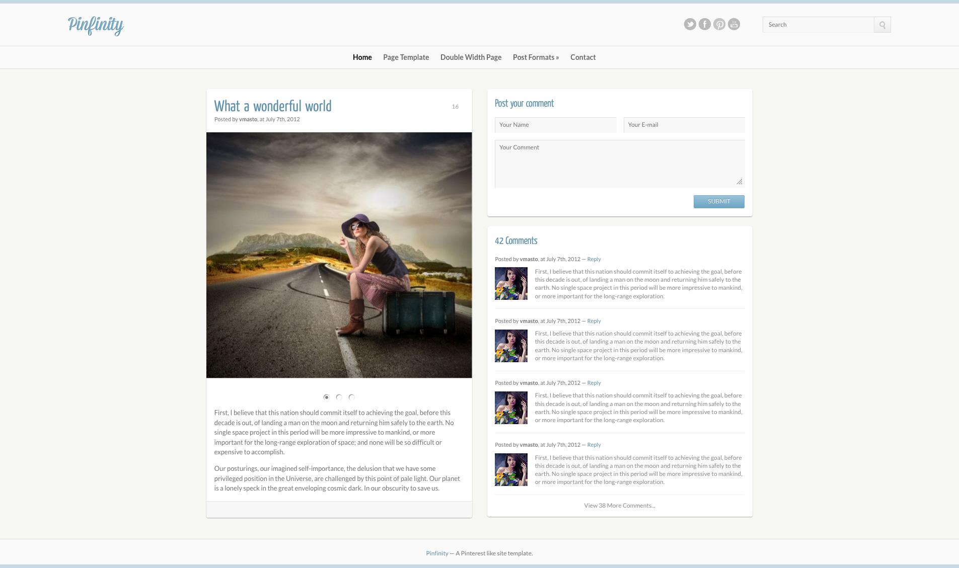 Pinfinity Responsive Tumblr Like Site Template