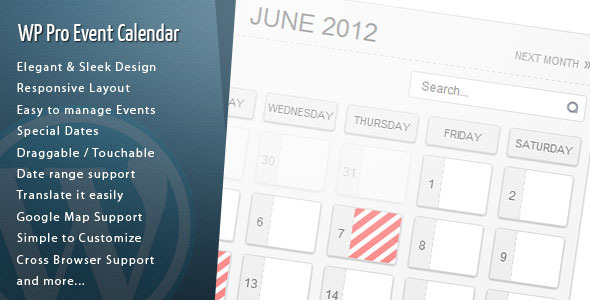 Wordpress Pro Event Calendar By Dpereyra | Codecanyon