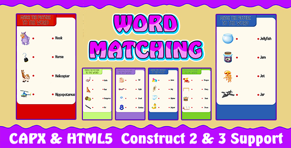 Word Matching Game (CAPX and HTML5) Kids Learning Game