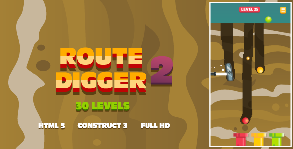 Route Digger 2 - HTML5 Game (Construct3)