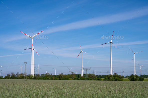 Wind park in a rural area - Stock Photo - Images