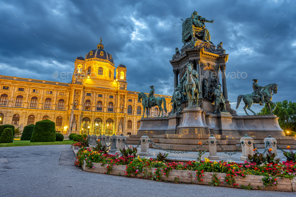 The Natural History Museum with the statue of Maria Theresa - Stock Photo - Images