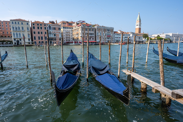 Gondolas at the Grand Canal in Venice - Stock Photo - Images