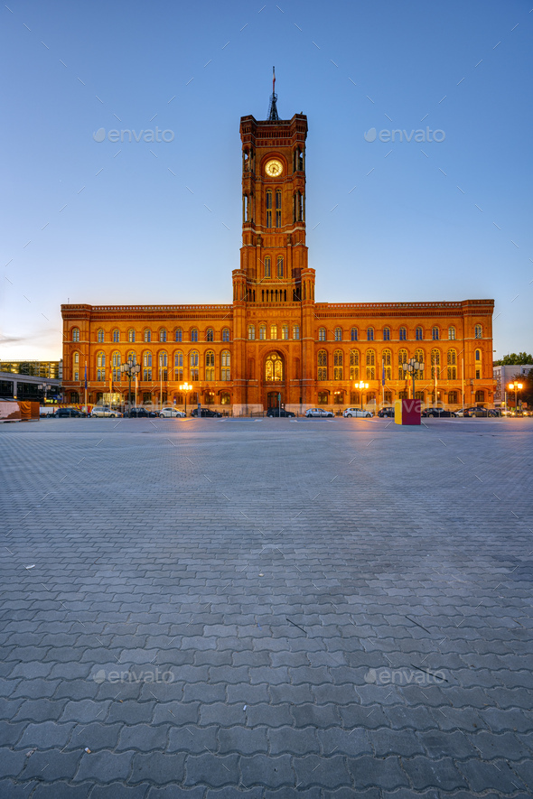 The famous Rotes Rathaus before sunrise - Stock Photo - Images