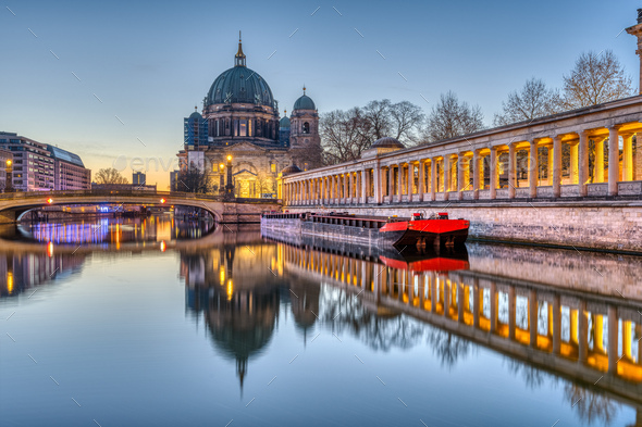 The Berlin Cathedral before sunrise - Stock Photo - Images