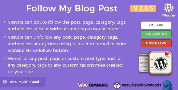 Follow My Blog Post Wordpress Woocommerce Plugin By Wpweb Codecanyon