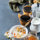 Breakfast with black coffee muesli granola honey nuts milk - PhotoDune Item for Sale