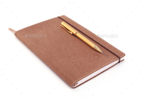 notepad or paper notebook with pen isolated on white background - Stock Photo - Images