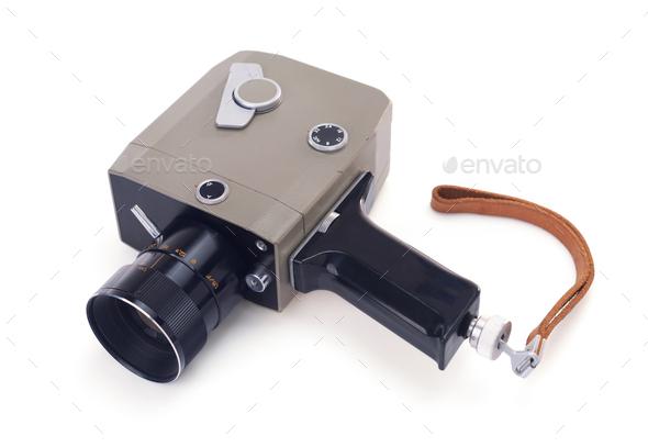 movie vintage or film retro camera on white background - Stock Photo - Images