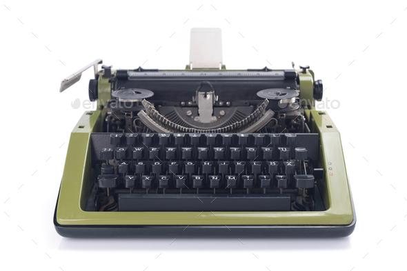 vintage typewriter isolated at white background - Stock Photo - Images