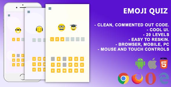 Emoji Quiz. Mobile, Html5 Game .c3p (Construct 3)