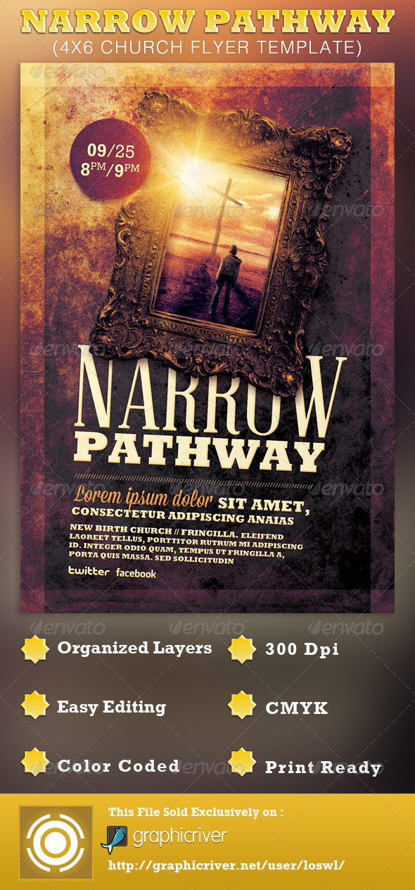 Narrow Pathway Church Flyer Template By Loswl  Graphicriver