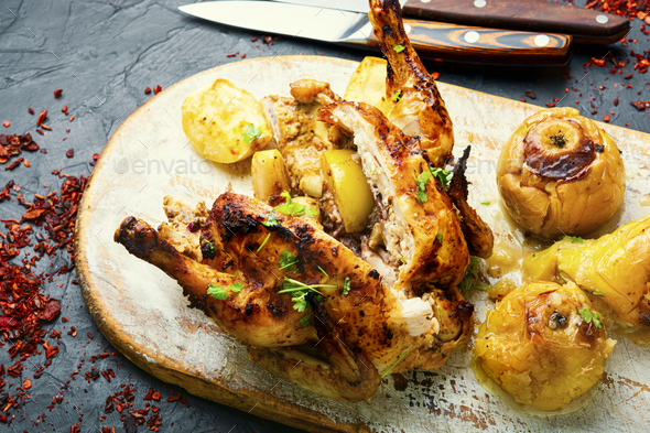 Fried partridge with apples - Stock Photo - Images