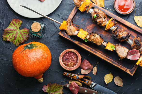 Kebabs with meat and pumpkin - Stock Photo - Images