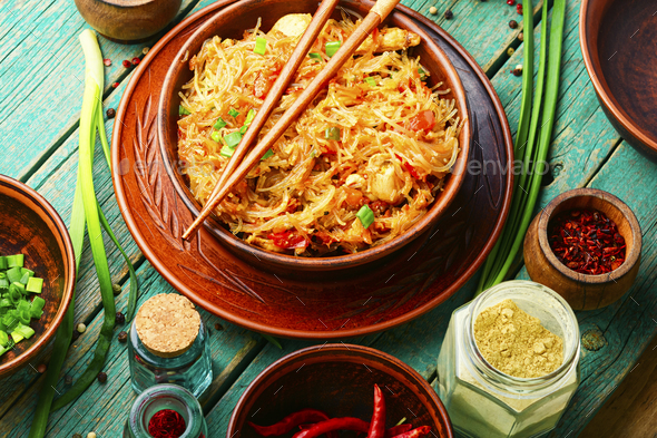 Funchoza dish of Asian cuisine - Stock Photo - Images