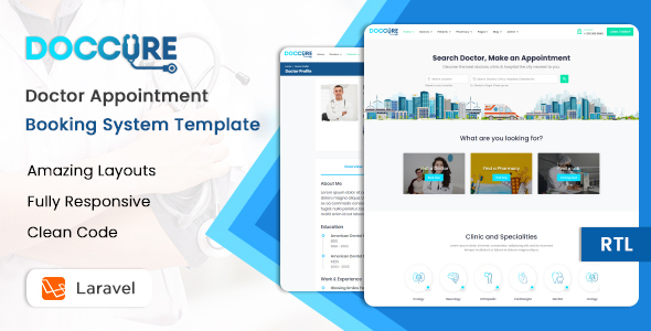 Extraordinary Doccure - Doctor Appointment Booking System Template (HTML + Laravel)