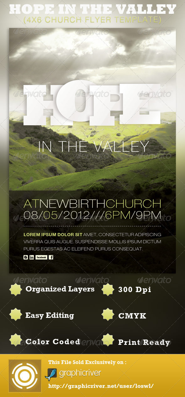 Hope in the Valley Church Flyer Template - Church Flyers