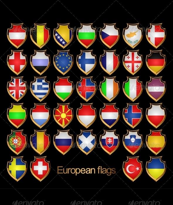 European flags-badges. - Decorative Symbols Decorative