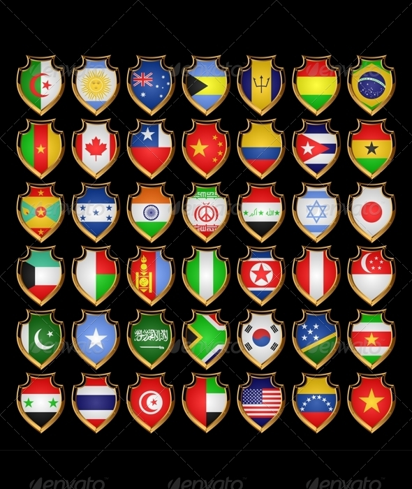 Flags-badges. - Decorative Symbols Decorative