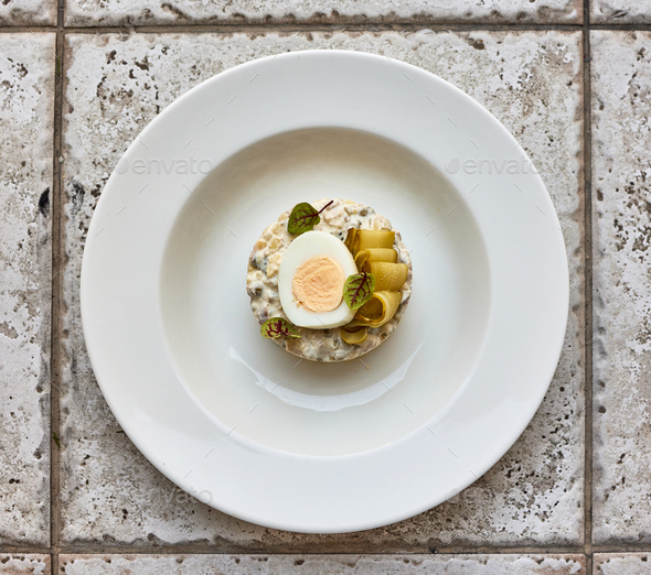 portion of olivier salad - Stock Photo - Images