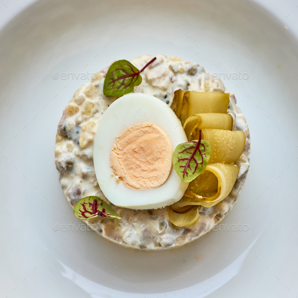 close up of olivier salad - Stock Photo - Images