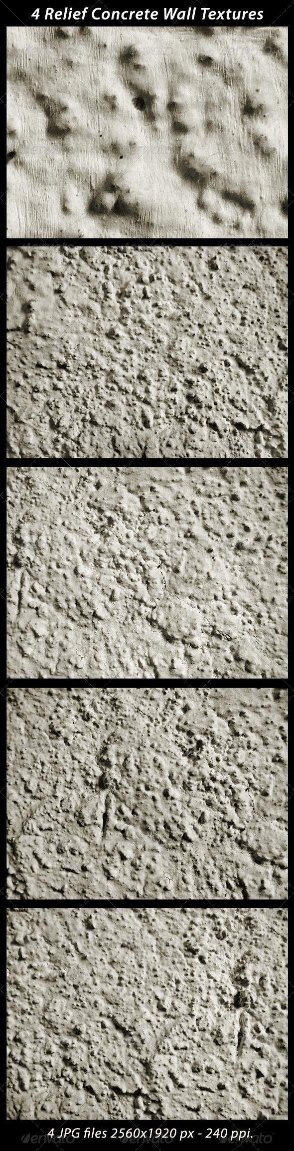 4 Relief Concrete Wall Textures - Concrete Textures