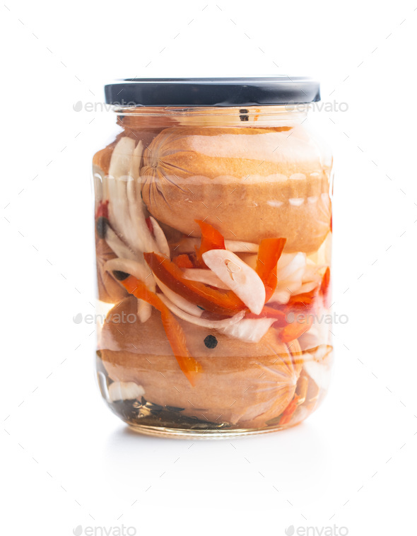 Pickled sausages with onion and red pepper. Marinated food. - Stock Photo - Images