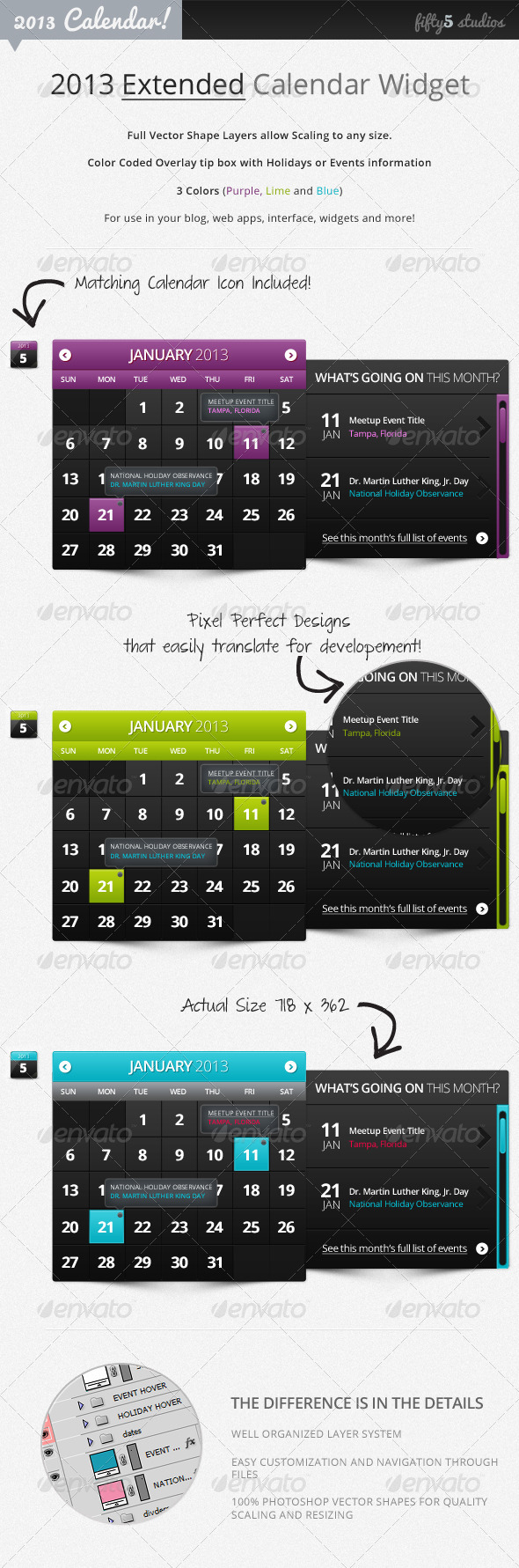 2013 (Extended) Calendar Widget v2.0 - Miscellaneous Web Elements