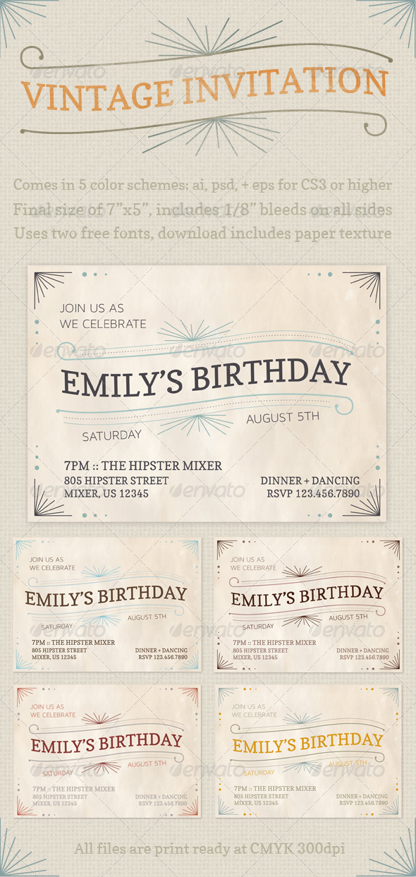 Vintage Invitations - Cards & Invites Print Templates