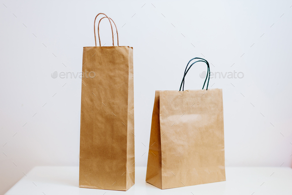 craft paper shopping bag - Stock Photo - Images