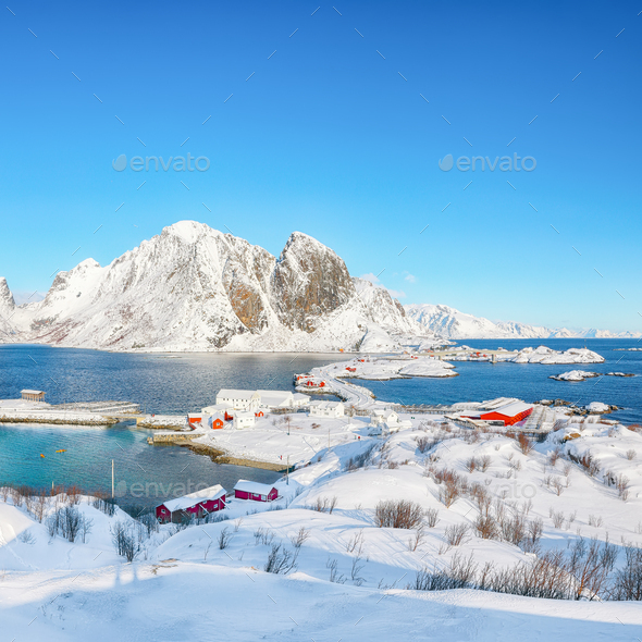 Fabulous winter view of Hamnoy  fishing village and bridge seen from Olenilsoya island - Stock Photo - Images