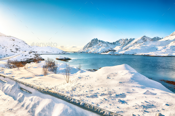 Outstanding  winter view on Sundstraumen strait that separates Moskenesoya and Flakstadoya islands. - Stock Photo - Images