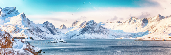 Fabulous winter view on Selfjordenn  during sunny day and Krystad Village - Stock Photo - Images
