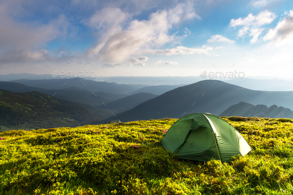 Green tent on amazing meadow in spring mountains - Stock Photo - Images