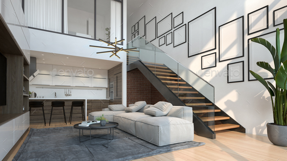 Interior of modern living room with sofa 3 D rendering - Stock Photo - Images