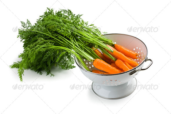 carrot in strainer - Stock Photo - Images