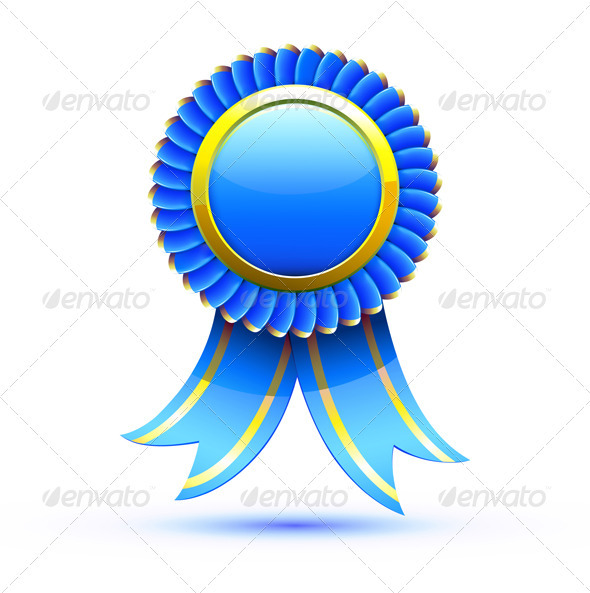 Blue badge and ribbon - Decorative Vectors