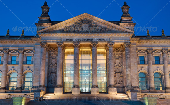 Entrance to the Reichstag in Berlin - Stock Photo - Images