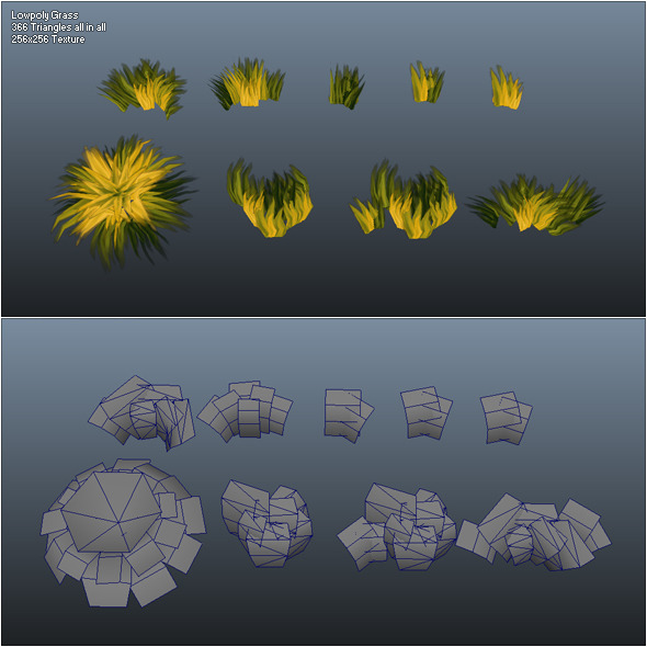 Low Poly Grass Pack - 3DOcean Item for Sale