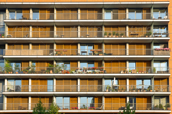 Balconies of a modern building - Stock Photo - Images