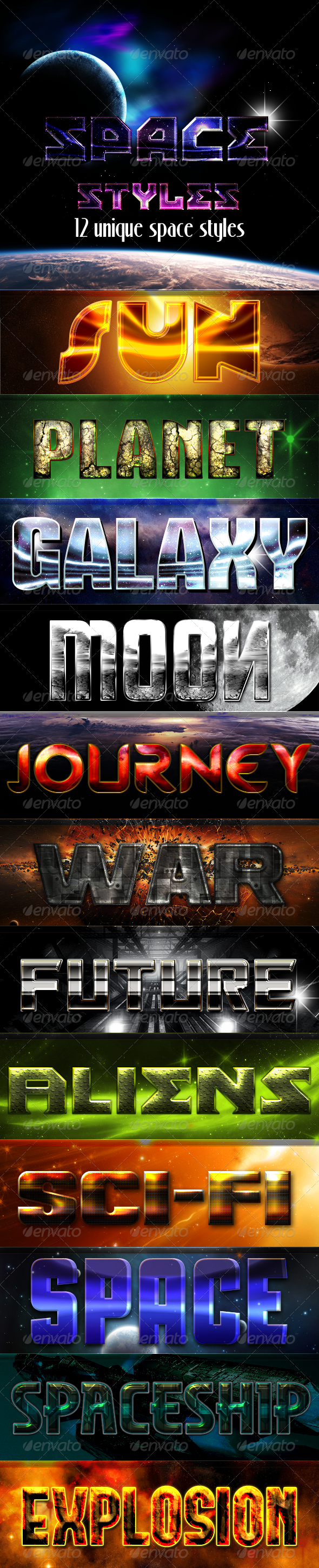 12 Space Styles - Text Effects Styles