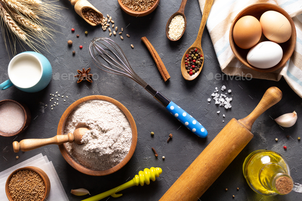 Bakery ingredients for homemade bread baking on table - Stock Photo - Images