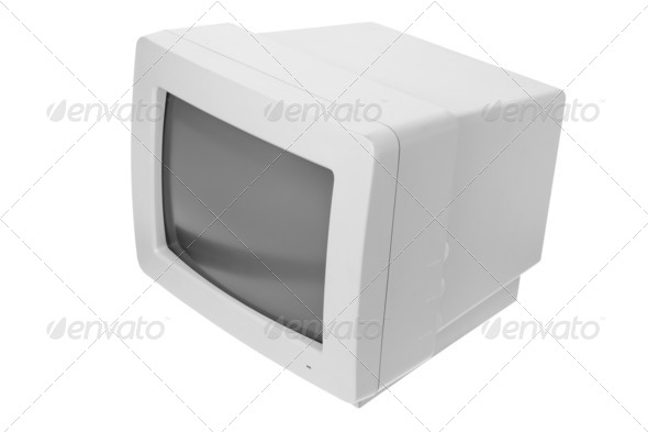 CRT Computer Monitor - Stock Photo - Images