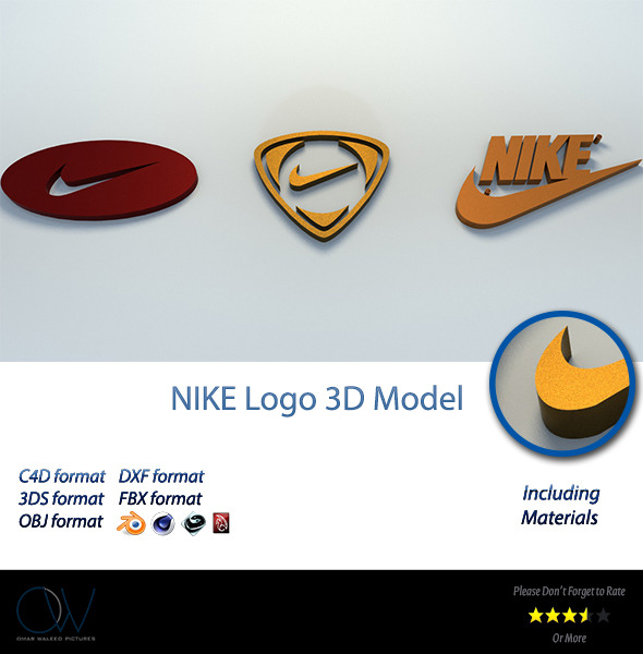 Nike Logo 3D Model - 3DOcean Item for Sale