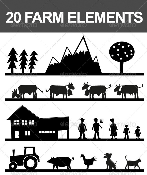 20 Farm Elements - Characters Vectors