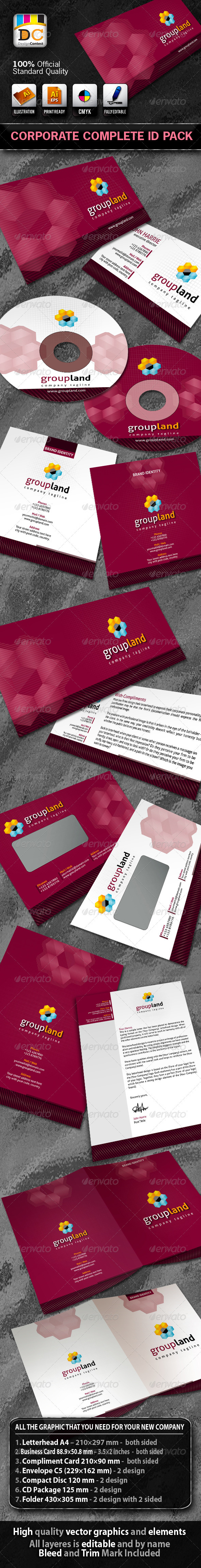 Group Land Corporate ID Pack - Stationery Print Templates