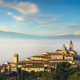 Trevi picturesque village in a foggy morning. Perugia, Umbria, Italy. - PhotoDune Item for Sale